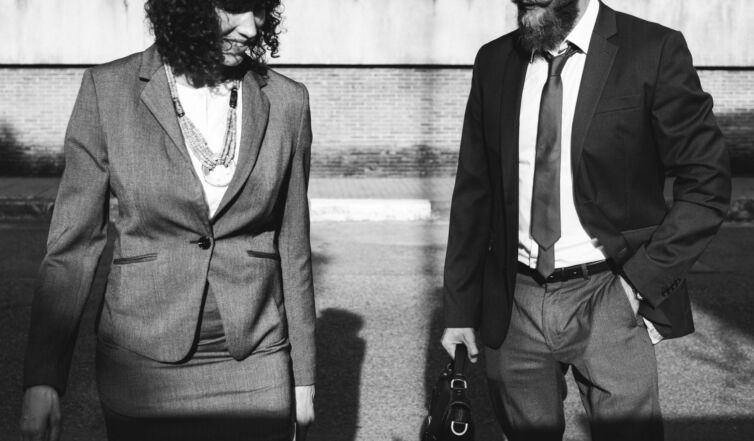 Business people walking together in the city
